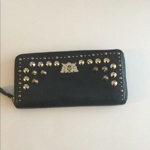 Juicy Couture studed black leather wallet